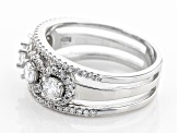 Pre-Owned White Cubic Zirconia Rhodium Over Sterling Silver Ring 2.05ctw