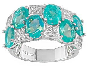 Pre-Owned Blue Opal And White Zircon Sterling Silver Ring 3.31ctw
