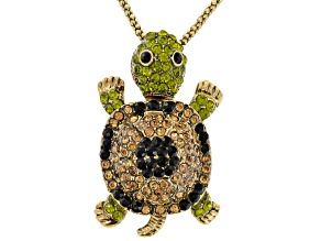 Pre-Owned Multicolor Crystal Antiqued Gold Tone Moving Turtle Pendant With Chain