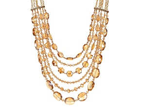 Pre-Owned Multicolor Crystal Gold Tone Layered Necklace