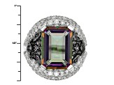 Pre-Owned Multi Color Quartz, White Zircon And Amethyst Sterling Silver Ring 7.59ctw