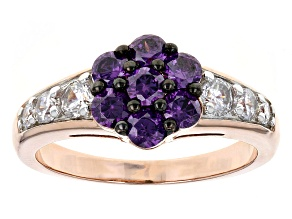Pre-Owned Purple And White Cubic Zirconia 18k Rose Gold Over Sterling Silver Ring 2.25ctw