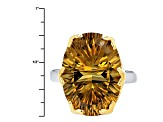 Pre-Owned Brown Champagne Quartz Two-Tone Sterling Silver Ring 10.44ct