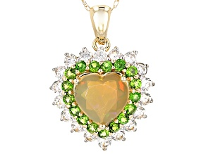 Pre-Owned Multi Color Ethiopian Opal 10k Yellow Gold Pendant With Chain 2.00ctw.