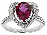 Pre-Owned Red Lab Created Bixbite And White Zircon Sterling Silver Ring 2.54ctw