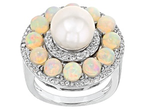 Pre-Owned Cultured Freshwater Pearl With Opal, And Zircon Rhodium Over Silver Ring
