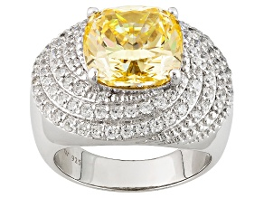 Pre-Owned Yellow And White Cubic Zirconia Silver Ring 12.30ctw (6.10ctw DEW)