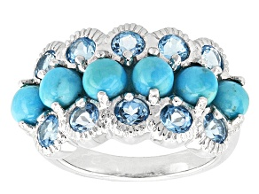 Pre-Owned Blue Turquoise Sterling Silver Ring 1.44ctw