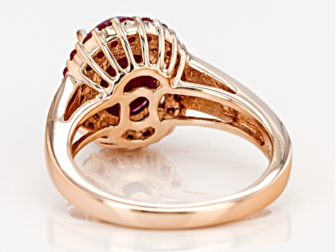 Pre-Owned Red Ruby 18k Rose Gold Over Silver Ring 3.38ctw