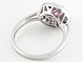 Pre-Owned Pink And White Cubic Zirconia Rhodium Over Silver Ring 2.00ctw