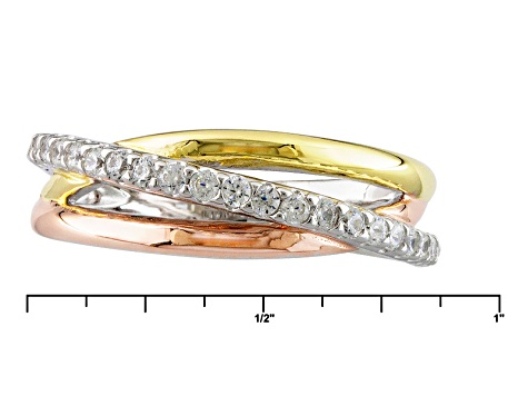 Pre-Owned Cubic Zirconia Silver And 18k Yellow And Rose Gold Over Silver Ring .52ctw (.31ctw DEW)