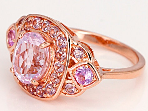 Pre-Owned Pink Kunzite 18k Rose Gold Over Sterling Silver Ring 2.88ctw