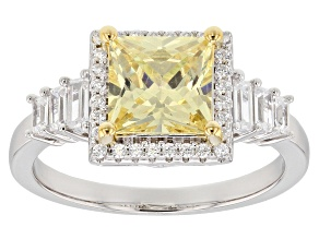 Pre-Owned Yellow & White Cubic Zirconia Rhodium Over Sterling Silver Center Design Ring 3.14ctw