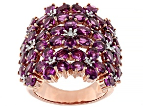 Pre-Owned Raspberry color rhodolite 18k rose gold over silver ring 10.92ctw