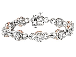 Pre-Owned Cubic Zirconia Silver And 18k Rose Gold Over Silver Bracelet 12.70ctw (5.79ctw DEW)
