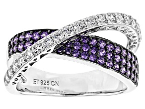 Pre-Owned Purple And White Cubic Zirconia Rhodium Over Sterling Silver Ring 2.11ctw