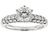 Pre-Owned Moissanite 14k White Gold Ring 2.10ctw D.E.W