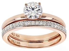 Pre-Owned Moissanite 14k Rose Gold Over Silver Ring With Band 1.01ctw DEW
