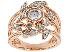 Pre-Owned Moissanite 14k Rose Gold Over Silver Ring .88ctw DEW.