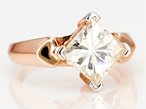 Pre-Owned Moissanite 14k Rose Gold Over Silver Ring 3.10ct DEW.
