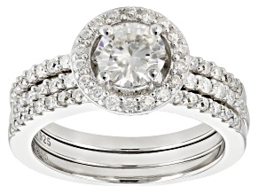 Pre-Owned Moissanite Platineve Ring With Bands 1.54ctw D.E.W