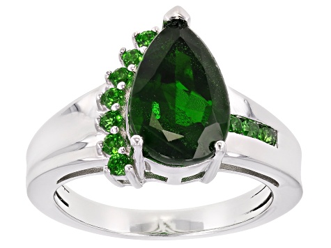 Pre-Owned Green Chrome Diopside Rhodium Over Sterling Silver Ring 2.94ctw