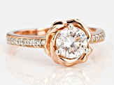 Pre-Owned Moissanite 14k Rose Gold Over Silver Ring 1.16ctw DEW.