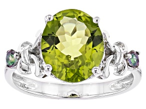 Pre-Owned Green Peridot Sterling Silver Ring 3.71ctw