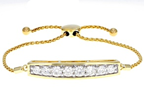 Pre-Owned Moissanite 14k Yellow Gold Over Silver Bolo Bracelet 2.10ctw DEW.