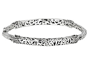 Pre-Owned Sterling Silver Filigree Hinged Bangle Bracelet