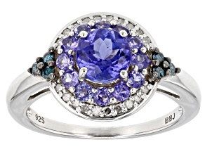 Pre-Owned Blue tanzanite rhodium over sterling silver ring 1.29ctw