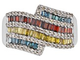 Pre-Owned Blue, Red, Yellow, And White Diamond Rhodium Over Sterling Silver Ring 1.00ctw