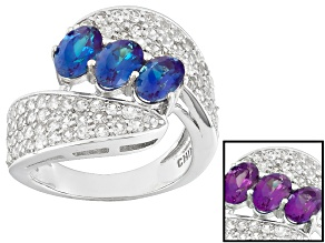 Pre-Owned Color Change Lab Created Alexandrite Sterling Silver Ring 2.69ctw
