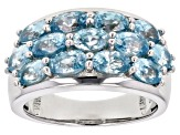 Pre-Owned Blue zircon rhodium over silver ring 4.21ctw