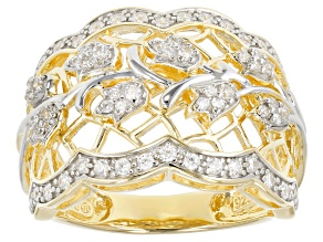 Pre-Owned White Cubic Zirconia 18K Yellow Gold & Rhodium Over Sterling Silver Ring 0.75CTW