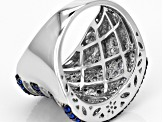 Pre-Owned Blue Synthetic Spinel And White Cz Black And White Rhodium Over Sterling Ring 3.26ctw