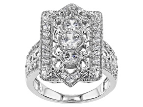 Pre-Owned White Cubic Zirconia Rhodium Over Sterling Silver Ring 1.80ctw