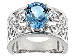 Pre-Owned Sky Blue Topaz rhodium over silver ring 2.82ct