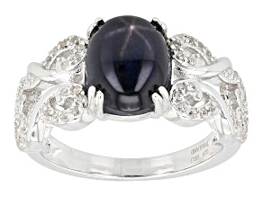 Pre-Owned Blue Star Sapphire Sterling Silver Ring 3.92ctw