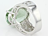 Pre-Owned Green Prasiolite Sterling Silver Solitaire Ring 9.59ct
