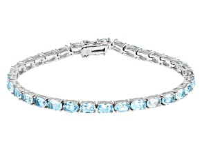 Pre-Owned Sky Blue Topaz Rhodium Over Sterling Silver Tennis Bracelet 13.30ctw
