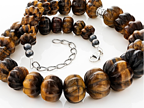 Pre-Owned Bi-Color Tiger's Eye Silver Bead Necklace