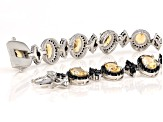 Pre-Owned Yellow Brazilian Citrine Sterling Silver Bracelet 18.07ctw