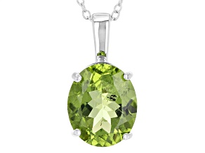 Pre-Owned Green Peridot Sterling Silver Pendant With Chain 4.80ct