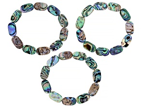 Pre-Owned Abalone Shell Stretch Bracelet Set Of 3, 7.5 inch