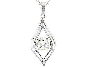 Pre-Owned White Cubic Zirconia Sterling Silver Pendant With Chain 1.43ct