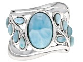 Pre-Owned Blue larimar rhodium over silver band ring