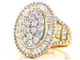 Pre-Owned White Cubic Zirconia 18k Yellow Gold Over Sterling Silver Ring 5.43ctw