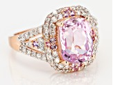 Pre-Owned Kunzite, White Diamond And Pink Sapphire 14k Rose Gold Ring 4.48ctw