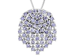 Pre-Owned Blue Tanzanite Sterling Silver Pendant With Chain 1.77ctw